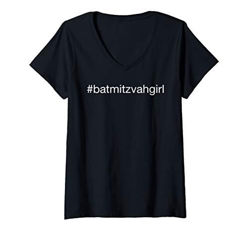 (Womens Bat Mitzvah Girl Hashtag V-Neck T-Shirt)