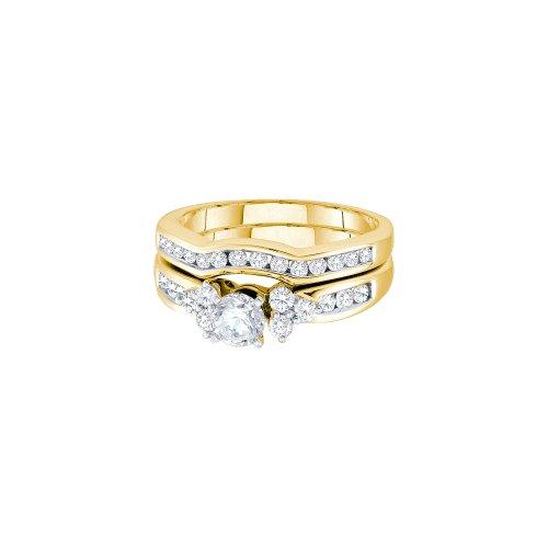 1.01CT DIAMOND LADIES BRIDAL SET WITH 0.40CT ROUND CENTER (0.4 Round Ct Center)