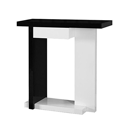 Monarch Specialties Glossy White/Black Hall Console Accent Table, 32-Inch ()