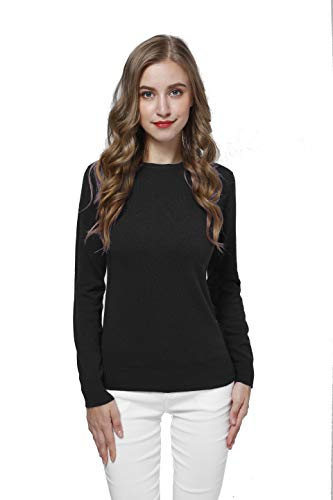 Acmewear Women's 100% Pure Cashmere Long Sleeve Crew Neck Sweater (Small, Black)