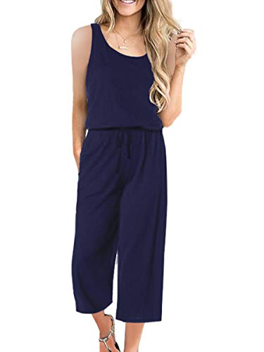 ANRABESS Women Summer Loose Solid Sleeveless Jumpsuit Rompers Elastic Waist Cropped Pant Jumpsuits A04zangqing-S WFF23 Navy Blue