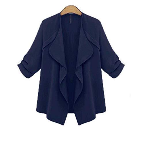 Primaverile Primaverile Irregular Solidi Trench Prodotto Baggy Fashion Donna Casual Casual Windbreaker Cappotto Giacca Manica Colori Lunga Eleganti Blu Plus Ragazza Scuro Autunno Chic 415xPwTnq