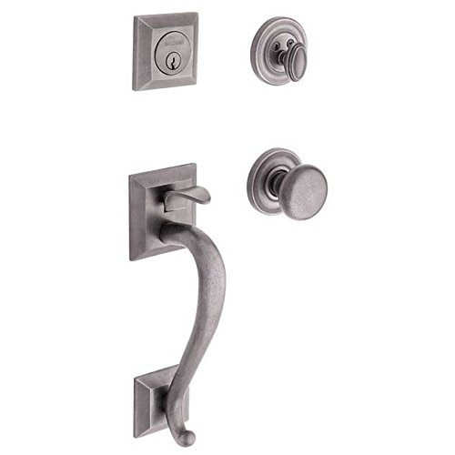 - Baldwin 85320.452.ENTR Madison Sectional Trim Handleset with Classic Knob, Distressed Antique Nickel