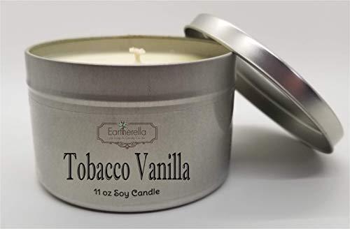 - TOBACCO VANILLA Natural Soy Wax 11 oz. Tin Candle, long 60+ hour burn time