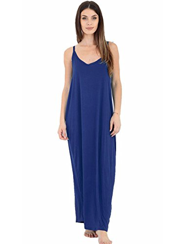 Camisole Baggy 26 Navy 8 Maxi Womens UK Lagenlook Ladies Drape Italian Dress Strappy qtW618TOp