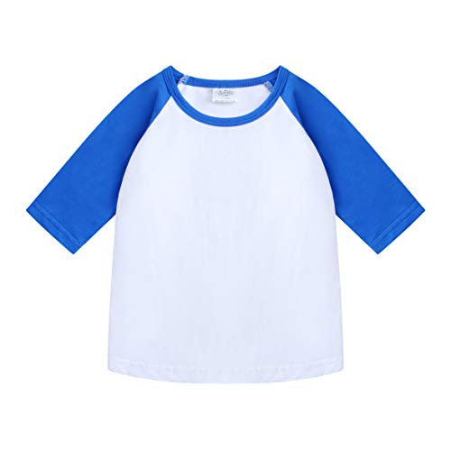CloudCreator Toddler Baby Girls Boys 3/4 Sleeve Shirts Raglan Shirt Baseball Tee Cotton T-Shirt (Blue&White, 1-2 Years) ()