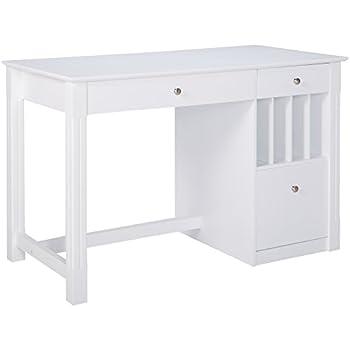 Amazon Com White Wood Deluxe Storage Computer Desk