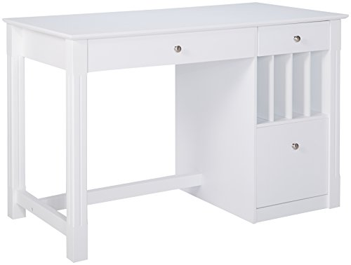 (White Wood Deluxe Storage Computer Desk)