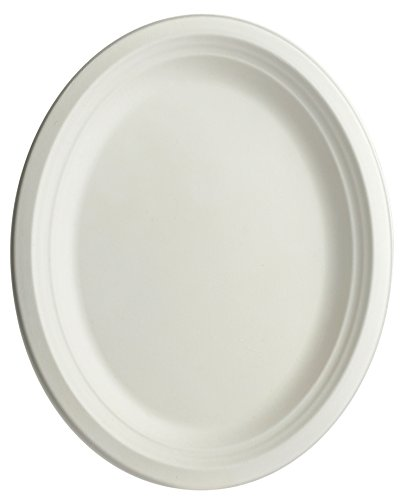 Brheez Heavy Duty Plates 100% Natural Sugarcane Biodegradable Compostable Bagasse, Eco-Friendly Paper Alternative - Oval Serving Platters 10