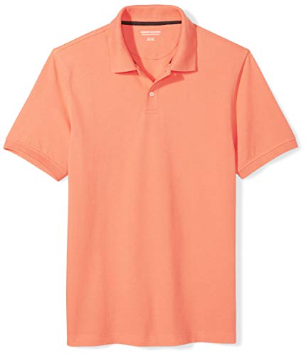 Amazon Essentials Men's Slim-Fit Cotton Pique Polo Shirt, Coral, Small ()