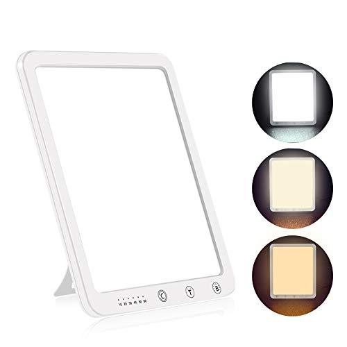 Aourow Tageslichtlampe 10000 Lux,LED Sonnenlicht Lampe mit 5 Helligkeitsstufen und 3 Lichtfarben,Tageslicht Lampe LED,Flimmerfrei und UV-frei