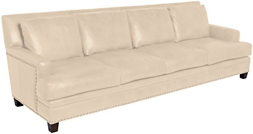Omnia Leather Glendora 4 Cushion Sofa in Leather, with Nail Head, Softstations White Winter