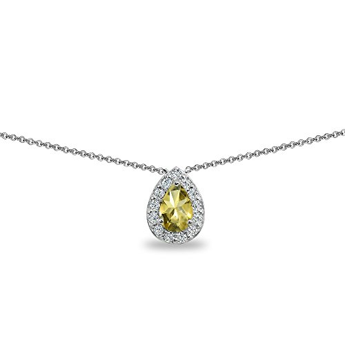 - Sterling Silver Citrine Teardrop Halo Choker Necklace with CZ Accents