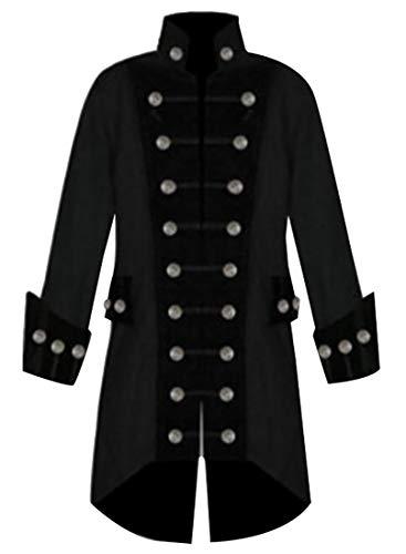 (Hombres abrigo gotico steampunk Victorian levita Tuxedo disfraz de Halloween Black)