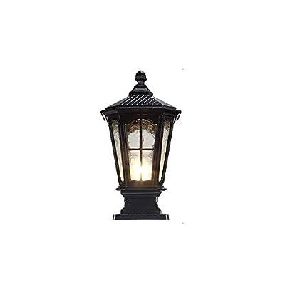 Traditional Outdoor Post Light Pier Mount Mediterranean Street Lantern Glass Door Column Tabletop Lighting for Deck Patio House Driveway Pillar Lamp
