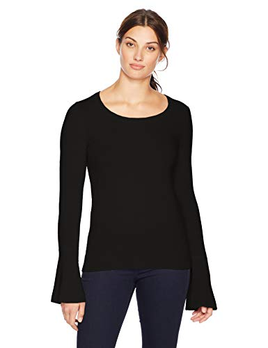 Amazon Brand – Lark & Ro Women's Sweaters Crewneck Cashmere Sweater with Flute Sleeves, Modern Black,Large