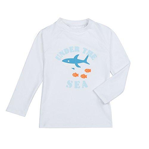 eeve Rashguard Shirts Swimwear Upf 50+ Sun Protection White 2T ()
