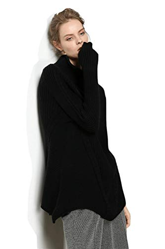 (Womens Mock Turtle Neck Winter Black Tunic Sweaters Cashmere Oversized Casual Loose Warm Ribbed Cuffed Long Sleeves(L, Black))