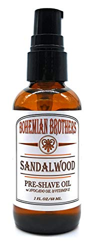 SALE - Bohemian Brothers Grooming. Pre-Shave Oil for Men. Ultra Smooth Shaving. Prevent Nicks and Irritation. With Vitamin E and Avocado Oil. Old School Sandalwood Scent (2 ()