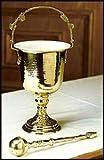 Holy Water Hammered Finish Brass Pot With Sprinkler Set Gold Gild