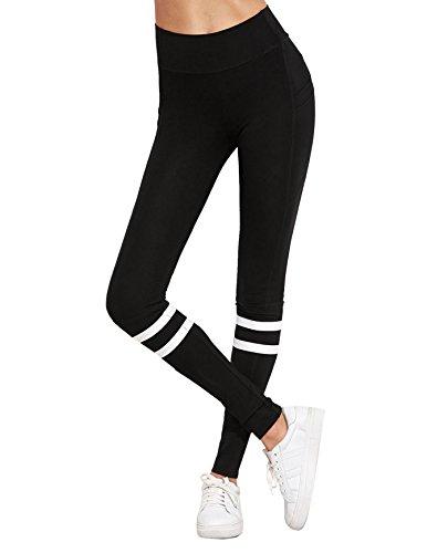 SweatyRocks Women's Grey Knit Crisscross Cuff High Waist Yoga Workout Leggings Black#2 S (Workout Pant Striped)