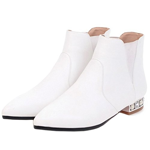 ENMAYER Mujer Pleuche Material cuña Chunky tacón puntiagudo Slip on Ankel Boots Blanco