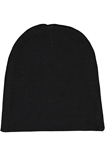 Rabbit Skins Infant 100% Cotton Baby Rib Folded Beanie Cap (Black, One Size Fits All)
