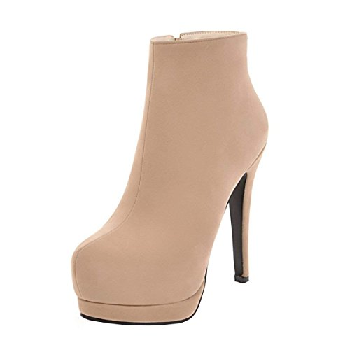 Womens Booties Platform Boots High Heels Ladies Vitalo up Beige Stiletto Ankle Zip ZqdHTwnx