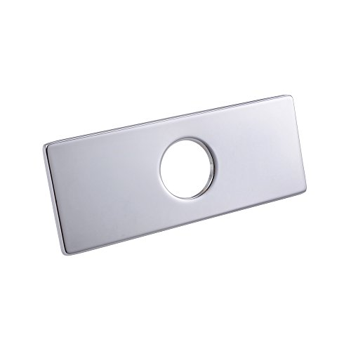 KES 6-Inch Sink Faucet Hole Cover Deck Plate Square Escutcheon for Bathroom or Kitchen Single Hole Mixer Tap, Polished Chrome, PEP2S15