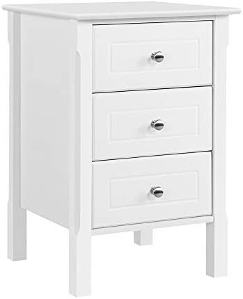 Yaheetech White Wood Nightstand 3 Drawers Bedside Table Cabinet