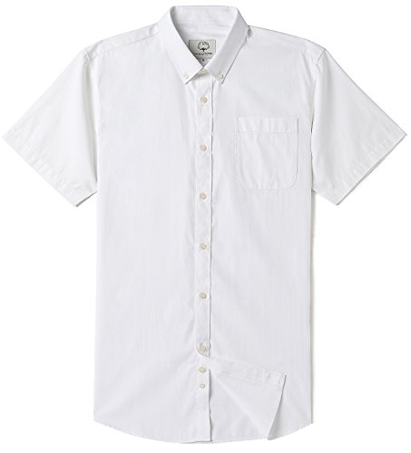 (Mocotono Men's Short Sleeve Oxford Button Down Casual Shirt, Light White, Medium)