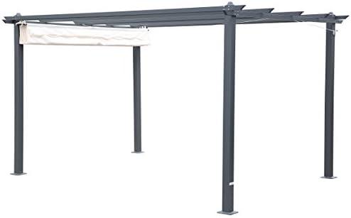 Outflexx Pergola gris aluminio, color crema, 300 x 400 x 20 cm ...