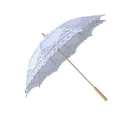Lace Wedding Umbrella Parasol for Bride Cotton Fashion Wooden Handle Decoration Umbrella White