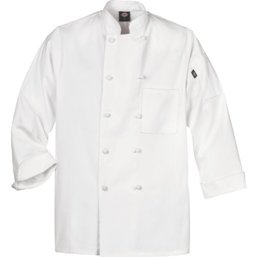 Spun Chef Coat Polyester - Dickies Occupational Workwear DCP109WHT 2XL Spun Polyester Knot Button Chef Coat with Reversible Closure, 2X-Large, White