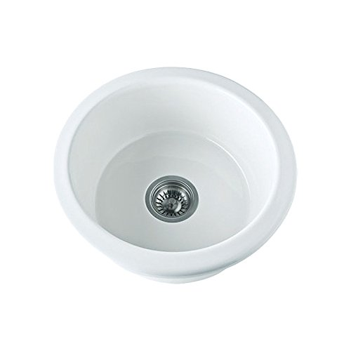 Rohl 6737-00 18-1/8-Inch Diameter 7-1/4-Inch Overall Depth 5-7/8-Inch Internal Depth Allia Round Prep or Bar Sink in White