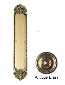 Fleur De Lis Push Plate Finish: Antique Brass