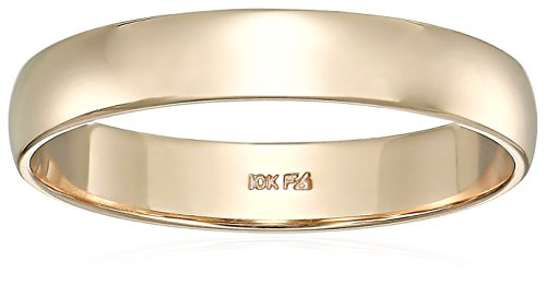 10kt 4mm Band - Men's 10kt Yellow Gold 4mm Classic Wedding Band, Size 11