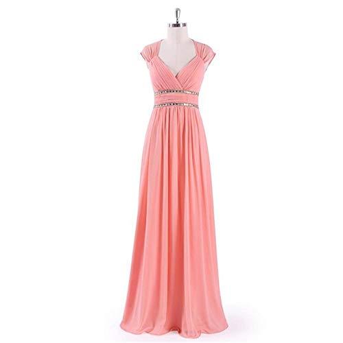 A De V color Pink Fengbingl Vestido Novia Tamaño Cuello Noche Hecho Us18 Hombros Mano En Bright Moldeado Con Banquete 5CnfXnq