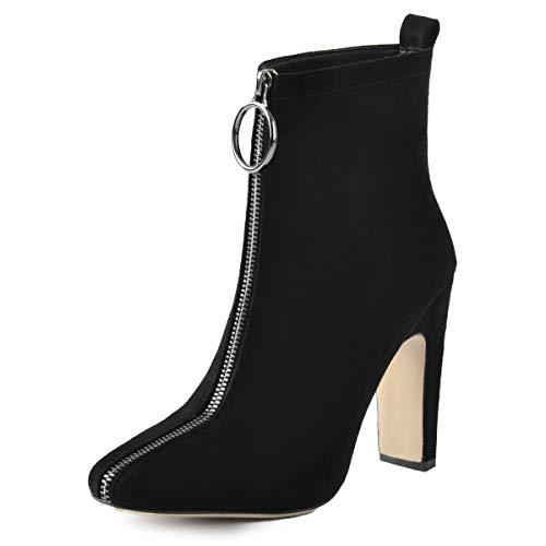2791fc4e002 Onlymaker Womens Fashion Front Zipper High Block Heel Ankle Boots Squre Toe  Modern Sexy Short Bootie