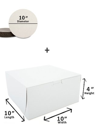 Cake Boxes & Rounds (10 pack) - Includes Ten 10''x10''x4'' White Cake Boxes & Ten White 10 inch diameter Cardboard Cake Circles (20 pieces total)