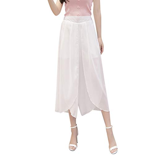 (BBesty Save 15% Women's Summer Solid Color Loose Chiffon Flare Elastic High Waist Wide Leg Pants Plus Size)