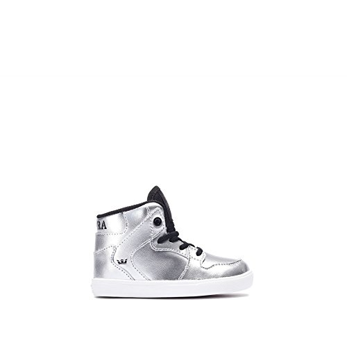 Supra Kids Baby Boy's Vaider (Toddler) Metallic Silver Leather/Canvas Sneaker 6 Toddler M (Infant Supra)