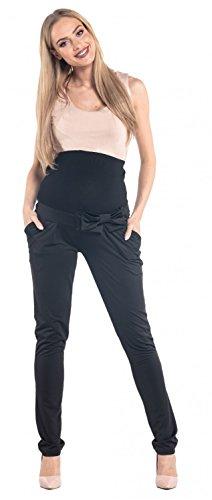 Happy Mama. Mujer premama pantalones con lazo banda elástica bolsillos. 640p Negro