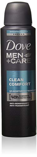 New Dove Men+Care Clean Comfort Anti-Perspirant Deodorant Spray 150 Ml/5.0oz (4 Can) (Dove Men Care Clean Comfort Antiperspirant Deodorant)