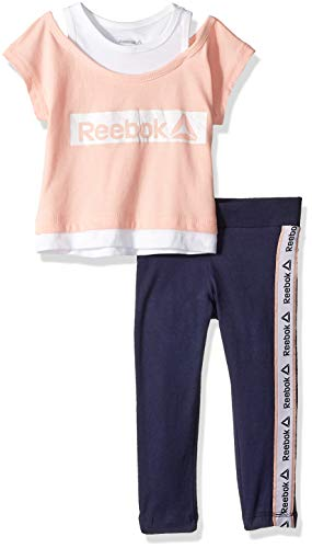 Reebok Girls' Toddler Essentials 2Fer Athletic Top and Legging Set, Peach, - Reebok Jersey Kids