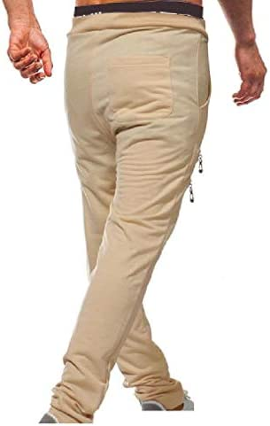 Men's Close Bottom Casual Solid Lace-up Slim Running Trousers