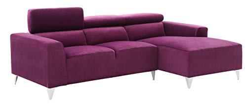 "Glory Furniture Italia G192-SCH Sectional, Purple. Living Room Furniture 28"" H x 92"" W x 58"" D"