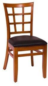 BFM Pennington Window Pane Chair Cherry Black Vinyl Seat Model Lwc629Chblv