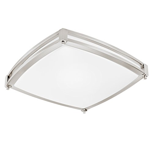 GetInLight LED Flush Mount Ceiling Light, 18-Inch, 30W(150W Equivalent), Brushed Nickel Finish, 3000K(Soft White), Dimmable, Square, Dry Location Rated, ETL Listed, IN-0317-4-SN