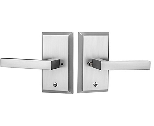 Rockwell Premium Aqua Solid Brass Privacy Set with Delta Lever in Brushed Nickel Fits 2-3/8 inch Backset and 1-3/8 inch to 1-3/4 inch Thick Doors, Includes, Latch, Strike Plate, mounting Fasteners ()